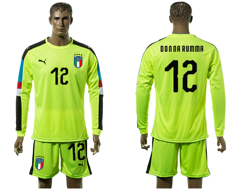 2017-18 Italy 12 Donna RUMMA Fluorescent Green Long Sleeve Goalkeeper Soccer Jersey