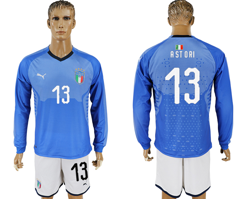2017-18 Italy 13 ASTORI Home Long Sleeve Soccer Jersey