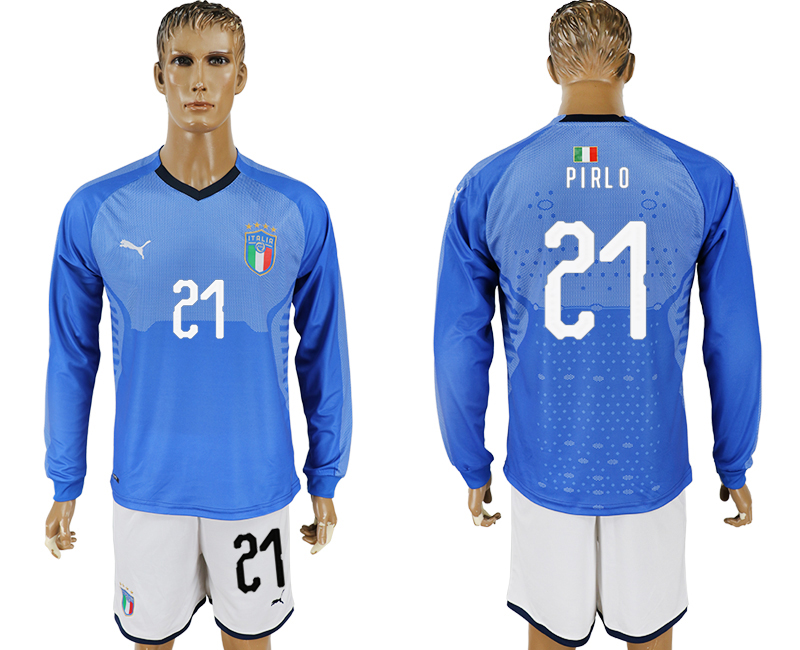 2017-18 Italy 21 PIRLO Home Long Sleeve Soccer Jersey