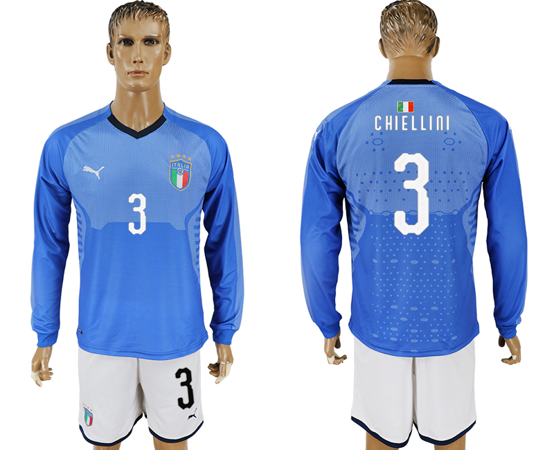 2017-18 Italy 3 CHIELLINI Home Long Sleeve Soccer Jersey