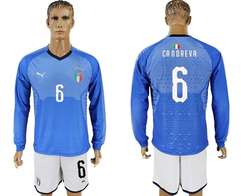 2017-18 Italy 6 CANDREVA Home Long Sleeve Soccer Jersey