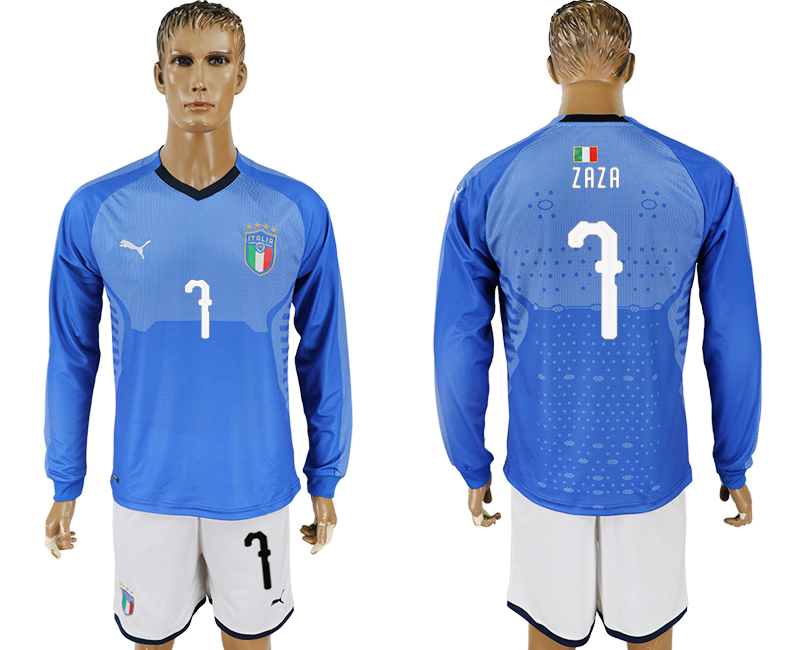 2017-18 Italy 7 ZAZA Home Long Sleeve Soccer Jersey