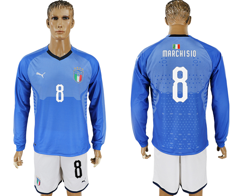 2017-18 Italy 8 MARCHISIO Home Long Sleeve Soccer Jersey