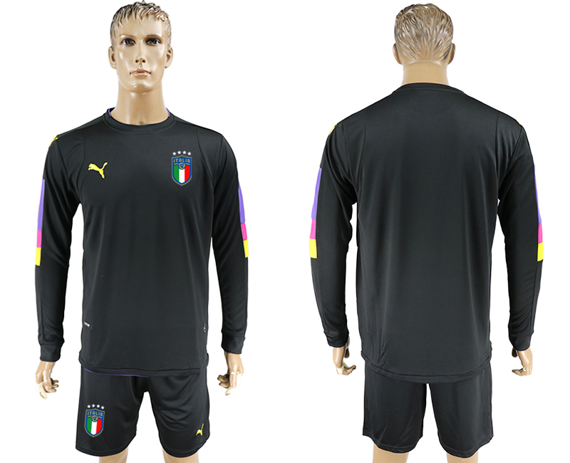 2017-18 Italy Black Long Sleeve Goalkeeper Soccer Jersey