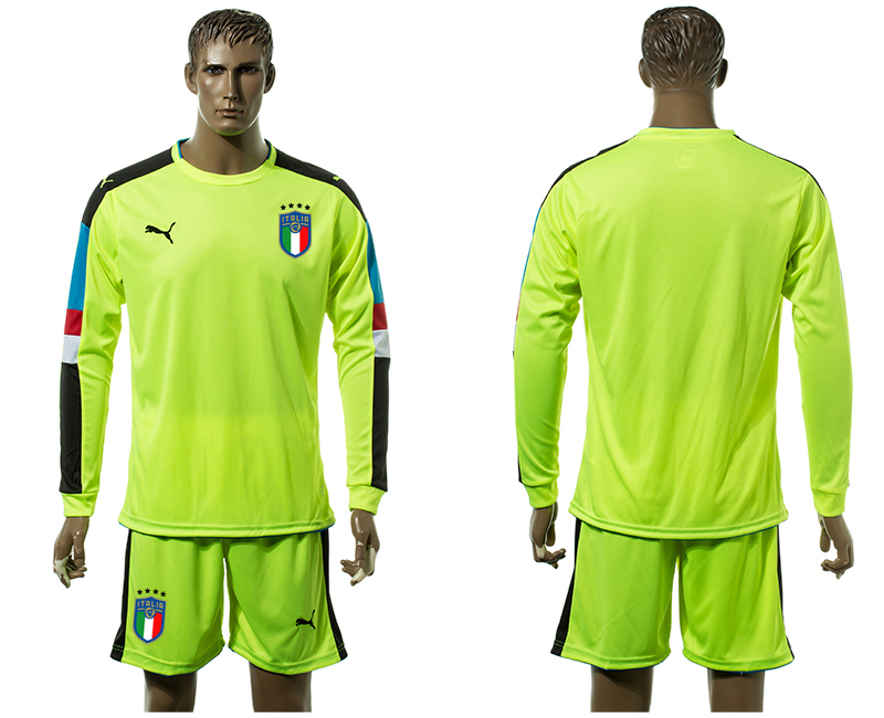 2017-18 Italy Fluorescent Green Long Sleeve Goalkeeper Soccer Jersey