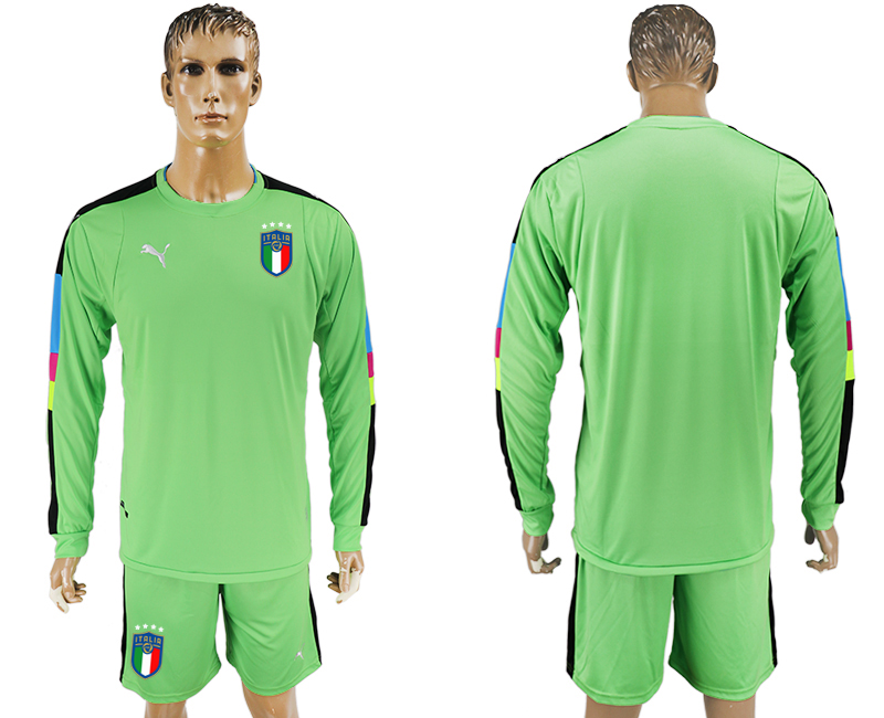 2017-18 Italy Green Long Sleeve Goalkeeper Soccer Jersey