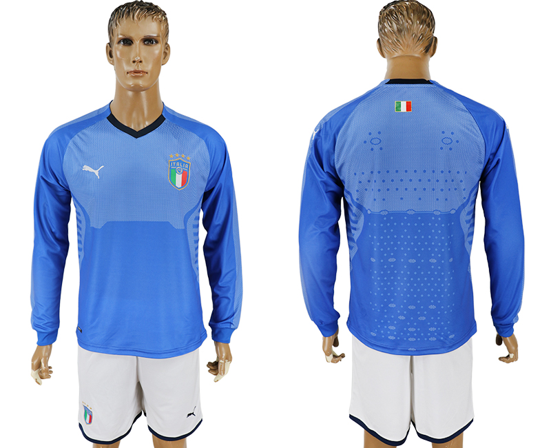 2017-18 Italy Home Long Sleeve Soccer Jersey