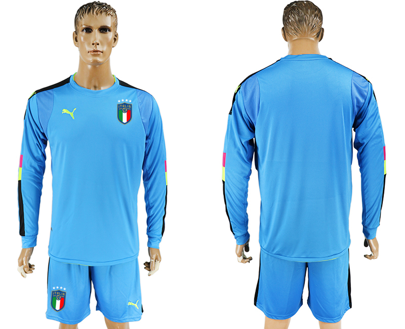 2017-18 Italy Lake Blue Long Sleeve Goalkeeper Soccer Jersey