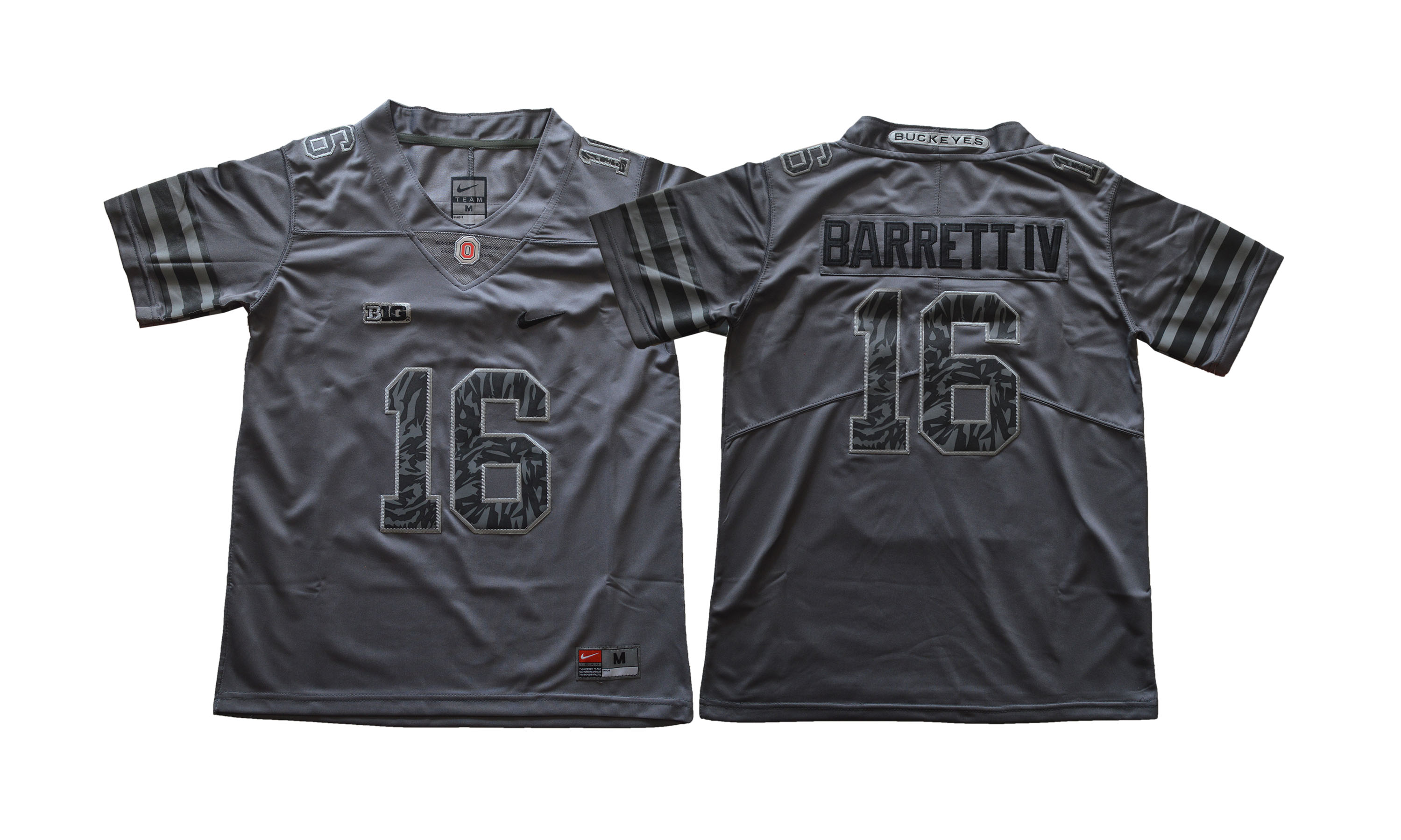 Ohio State Buckeyes 16 J.T. Barrett IV Dark Gray Youth College Football Jersey
