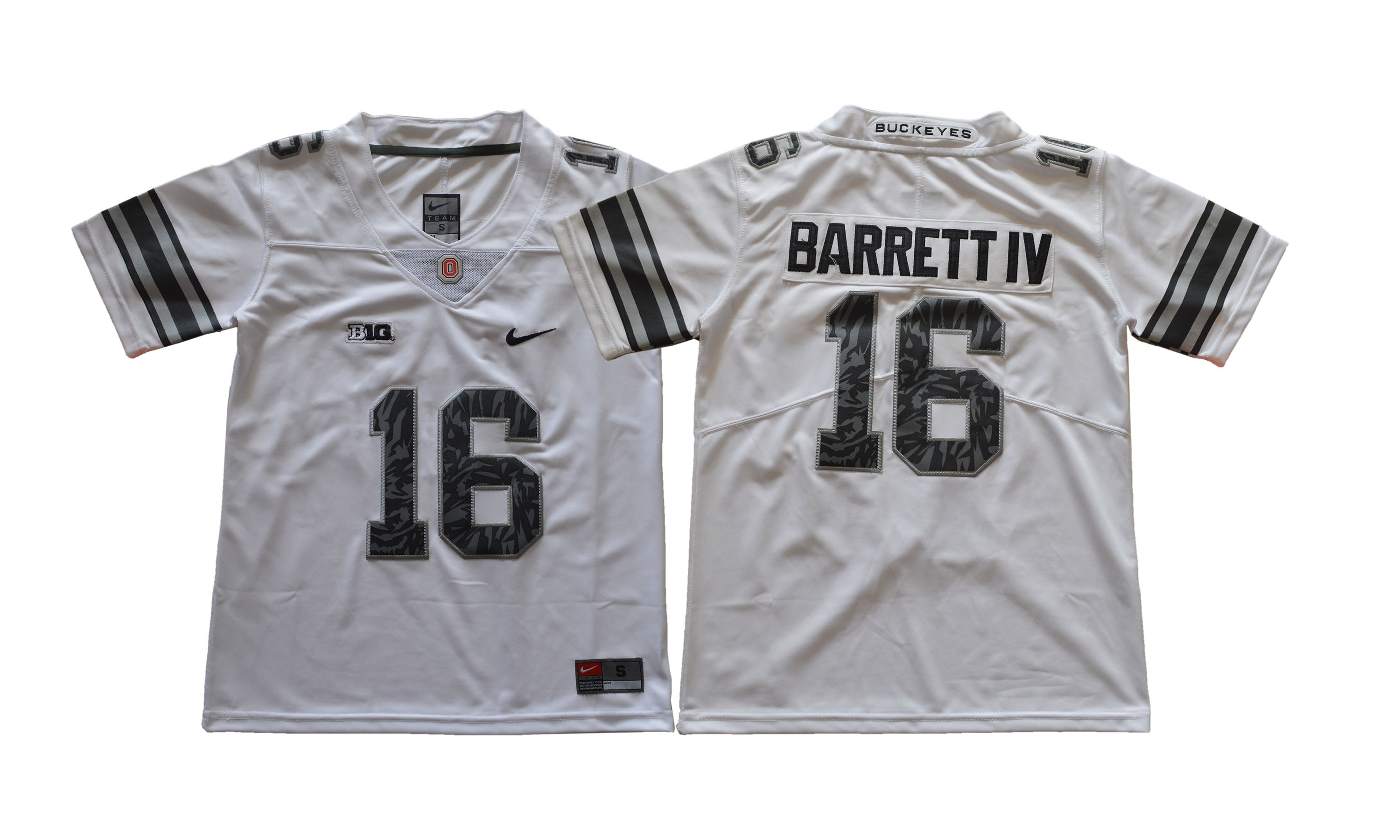 Ohio State Buckeyes 16 J.T. Barrett IV White Youth College Football Jersey