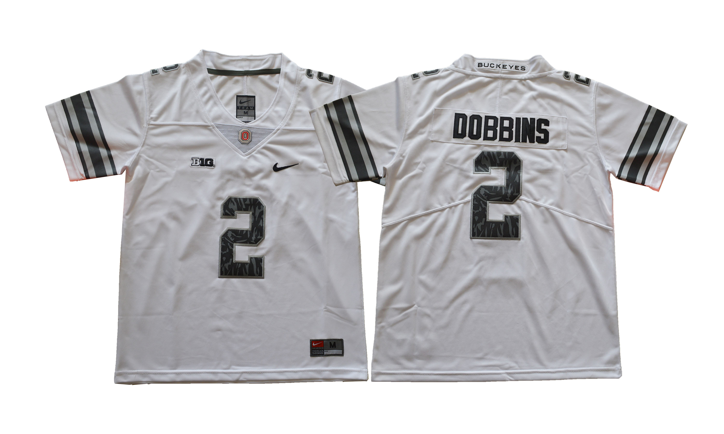 Ohio State Buckeyes 2 J.K. Dobbins White Youth College Football Jersey