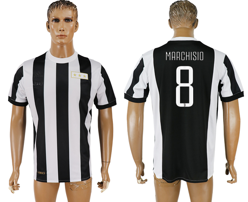 2017-18 Juventus 8 MARCHISIO 120th Anniversary Thailand Soccer Jersey