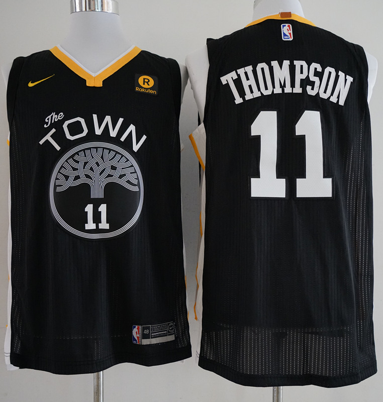 Warriors 11 Klay Thompson Black The Town Statement Edition Authentic Jersey
