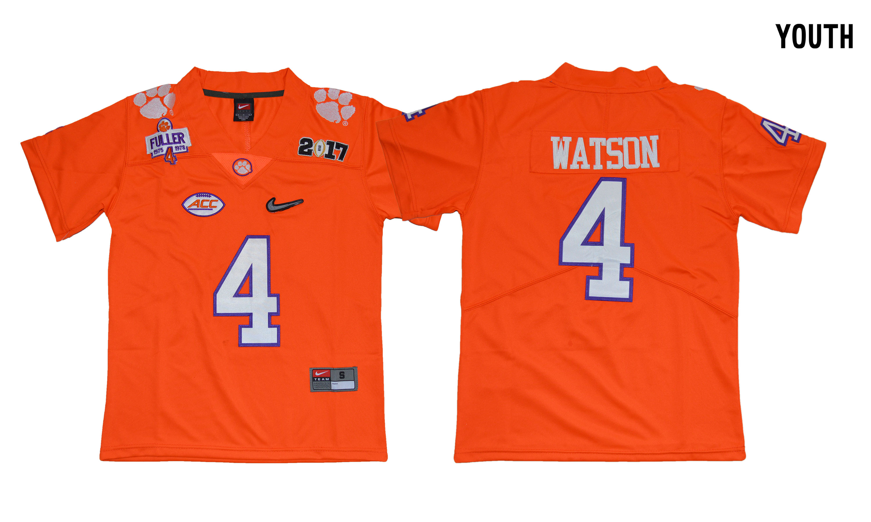 Clemson Tigers 4 Deshaun Watson Orange Youth Diamond Logo 1975-1978 Fuller College Jersey