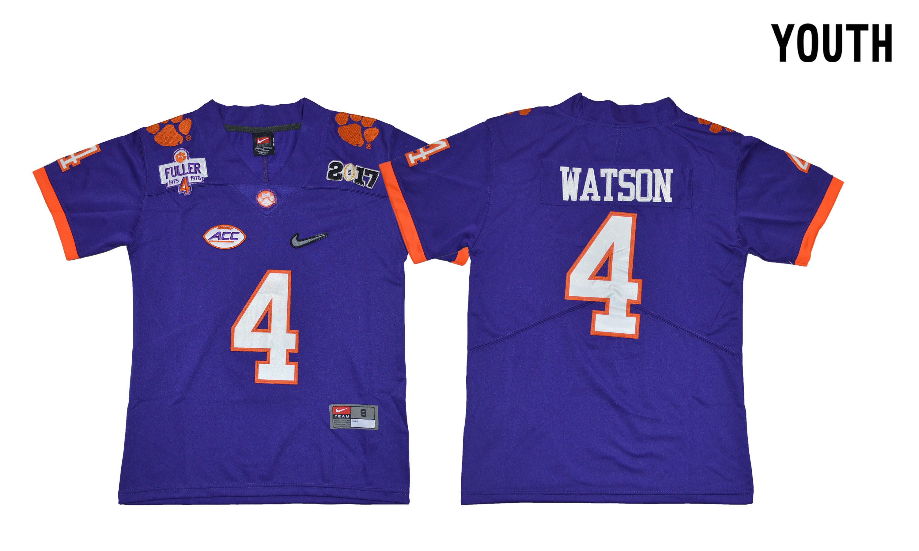Clemson Tigers 4 Deshaun Watson Purple Youth Diamond Logo 1975-1978 Fuller College Jersey