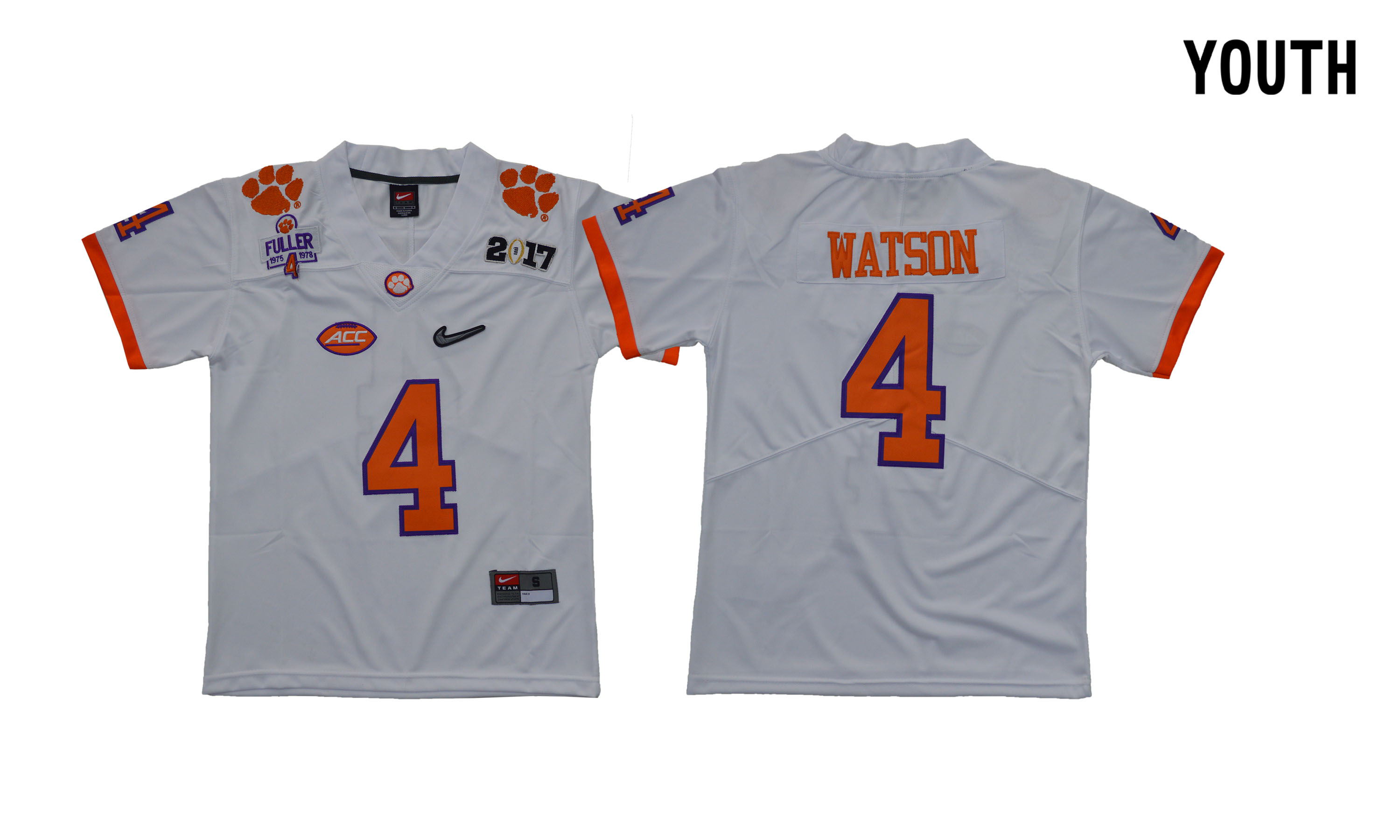 Clemson Tigers 4 Deshaun Watson White Youth Diamond Logo 1975-1978 Fuller College Jersey