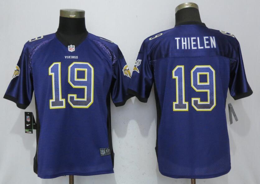Nike Vikings 19 Adam Thielen Purple Women Drift Fashion Jersey