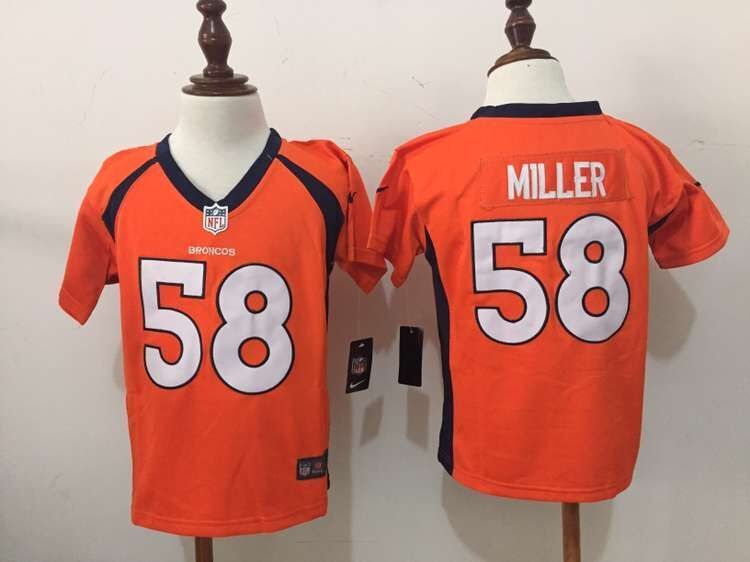 Nike Broncos 58 Von Miller Orange Toddler Game Jersey