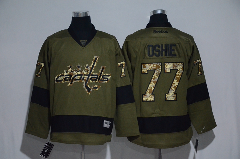 Capitals 77 T.J. Oshie Olive Green Salute to Service Reebok Jersey