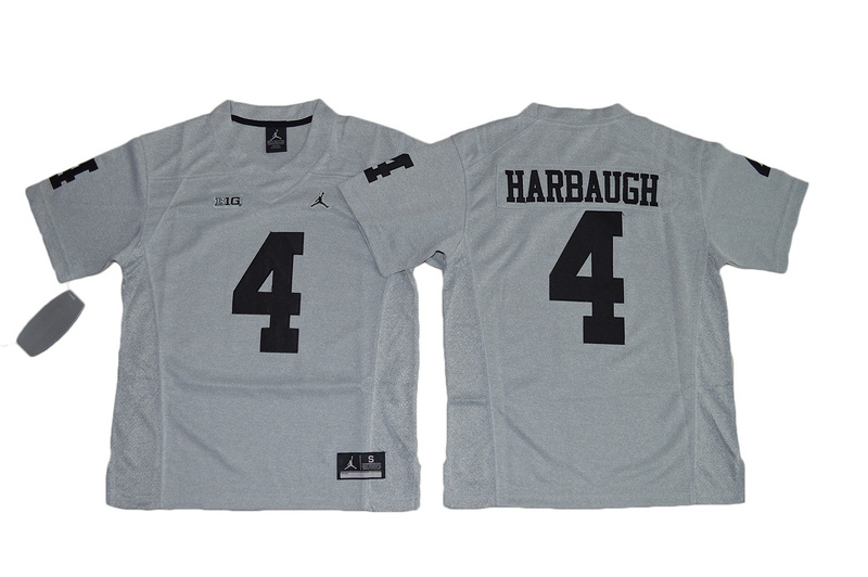 Michigan Wolverines 4 Jim Harbaugh Gray Gridiron II Youth College Jersey