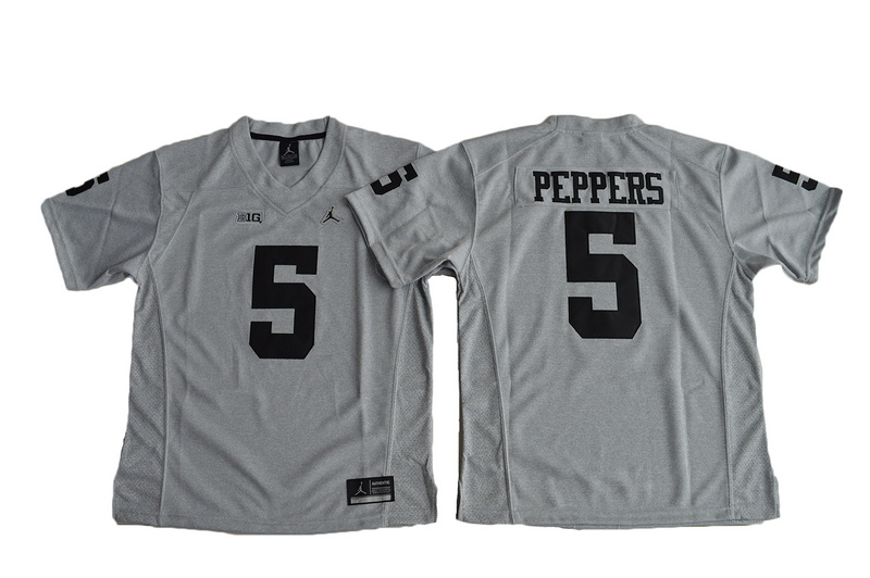 Michigan Wolverines 5 Jabrill Peppers Gray Gridiron II College Jersey