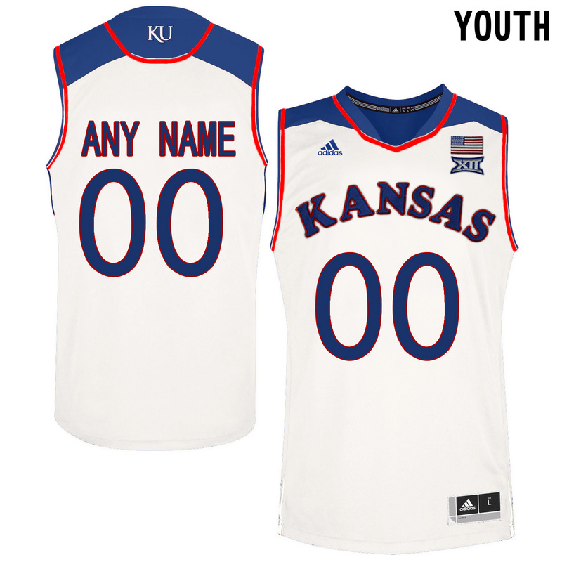 Kansas Jayhawks White Youth Customized College Basketball Jersey