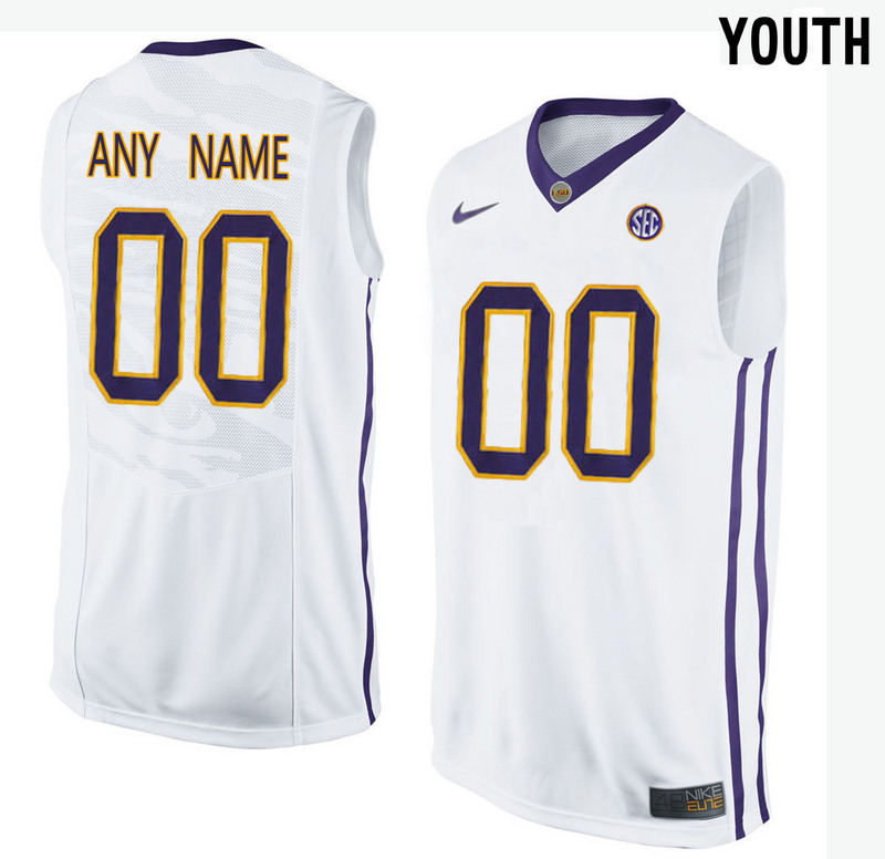 LSU Tigers White Youth Customized College Basketball Jersey
