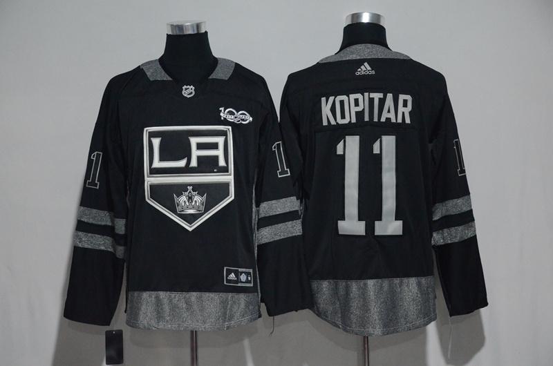 Kings 11 Anze Kopitar Black 1917-2017 100th Anniversary Adidas Jersey