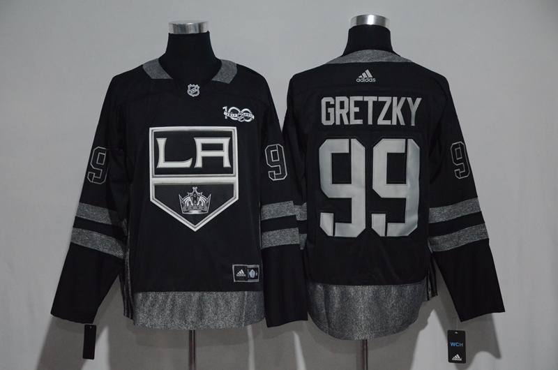 Kings 99 Wayne Gretzky Black 1917-2017 100th Anniversary Adidas Jersey