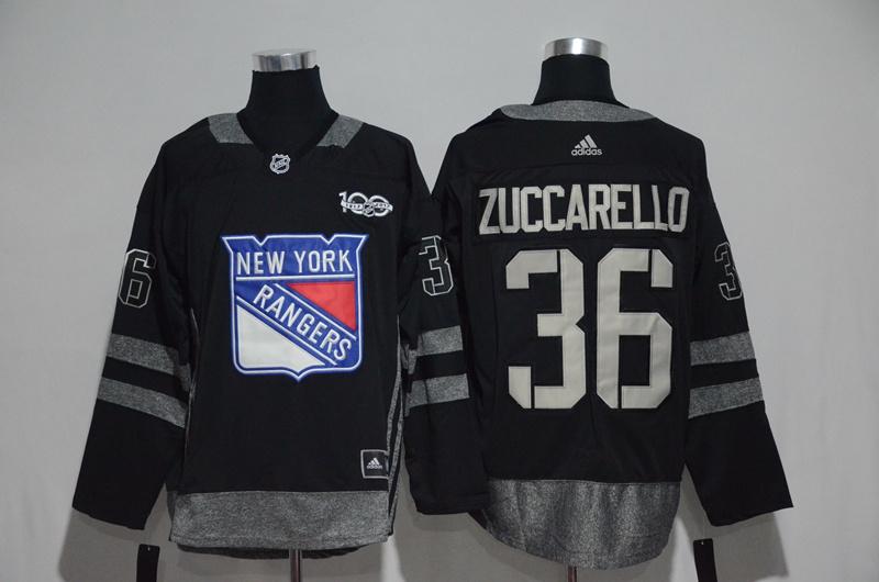 Rangers 36 Mats Zuccarello Black 1917-2017 100th Anniversary Adidas Jersey