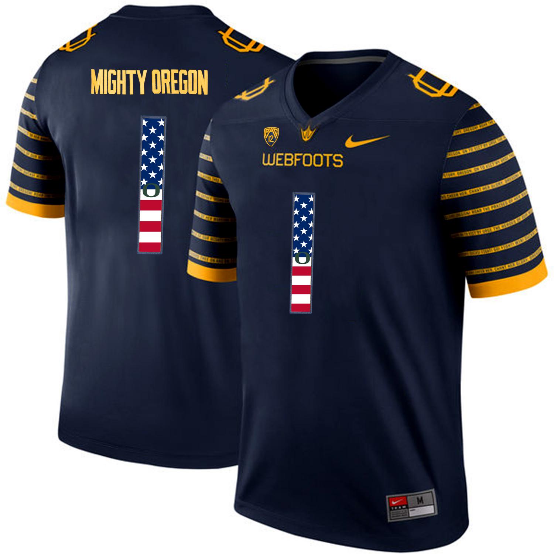 Oregon Ducks Spring Game Mighty Oregon 1 Navy USA Flag Webfoot 100th Rose Bowl Game Jersey