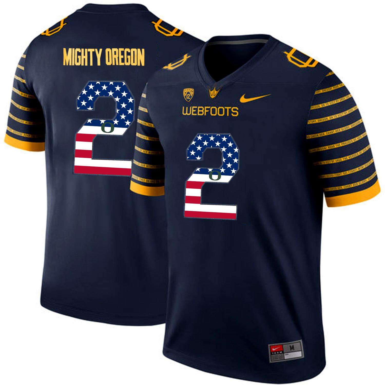 Oregon Ducks Spring Game Mighty Oregon 2 Navy USA Flag Webfoot 100th Rose Bowl Game Jersey