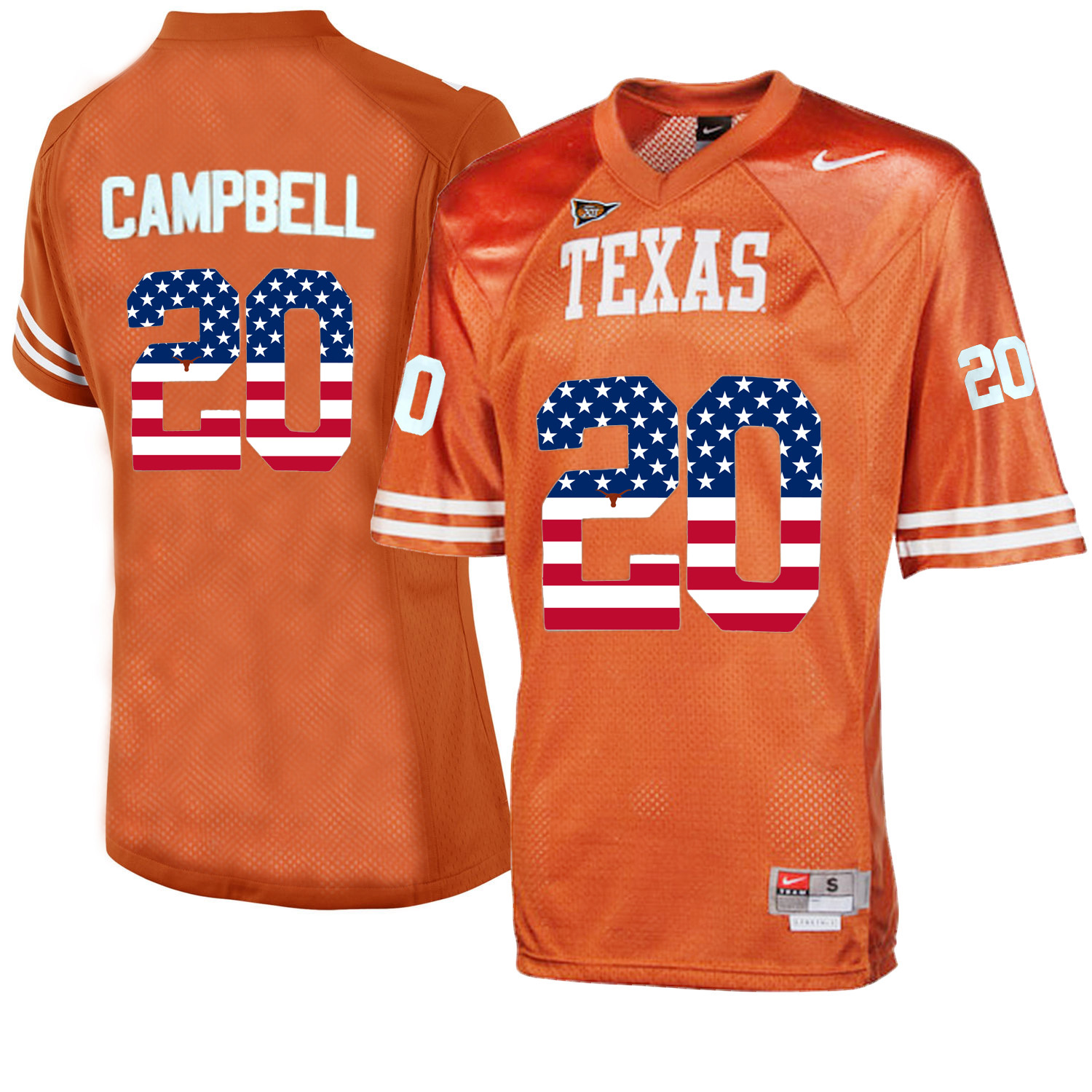 Texas Longhorns 20 Earl Campbell Orange College Football Throwback Jersey