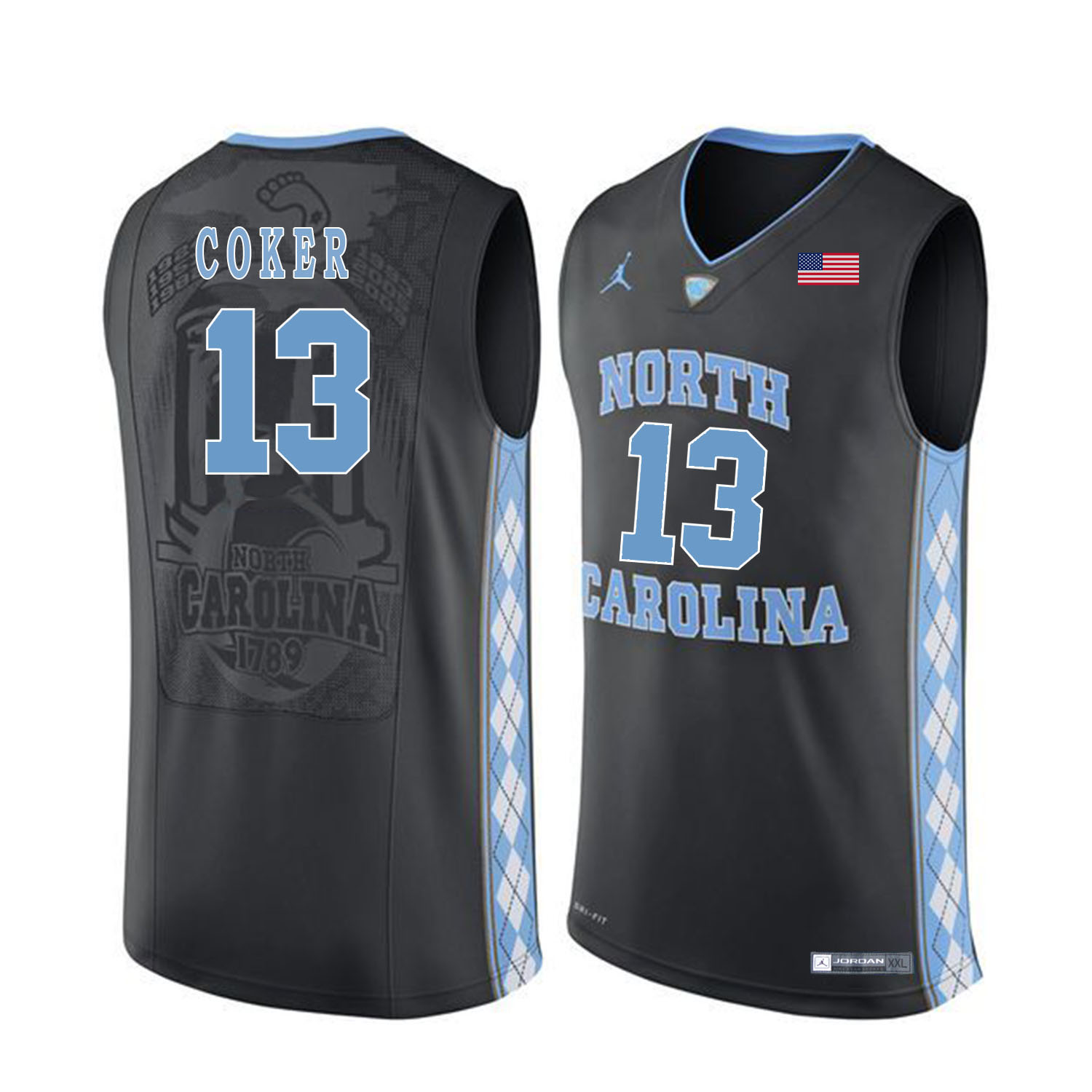 North Carolina Tar Heels 13 Kanler Coker Black College Basketball Jersey