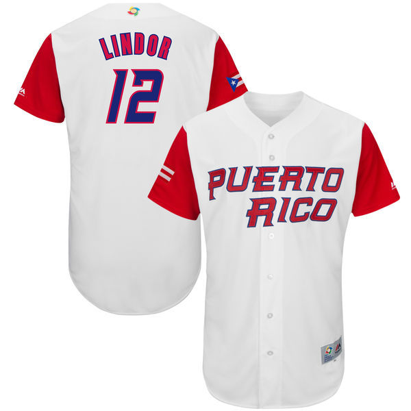 Men's Puerto Rico Baseball 12 Francisco Lindor White 2017 World Baseball Classic Jersey