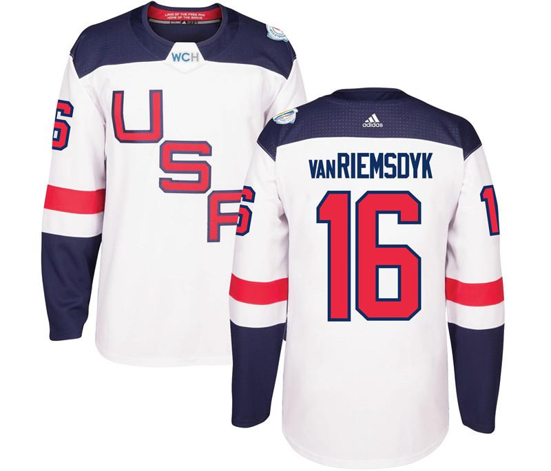 USA 16 James van Riemsdyk White 2016 World Cup Of Hockey Premier Player Jersey