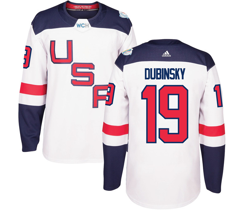USA 19 Dubin Dubinsky White 2016 World Cup Of Hockey Premier Player Jersey