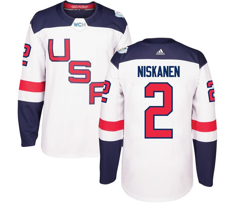 USA 2 Matt Niskanen White 2016 World Cup Of Hockey Premier Player Jersey