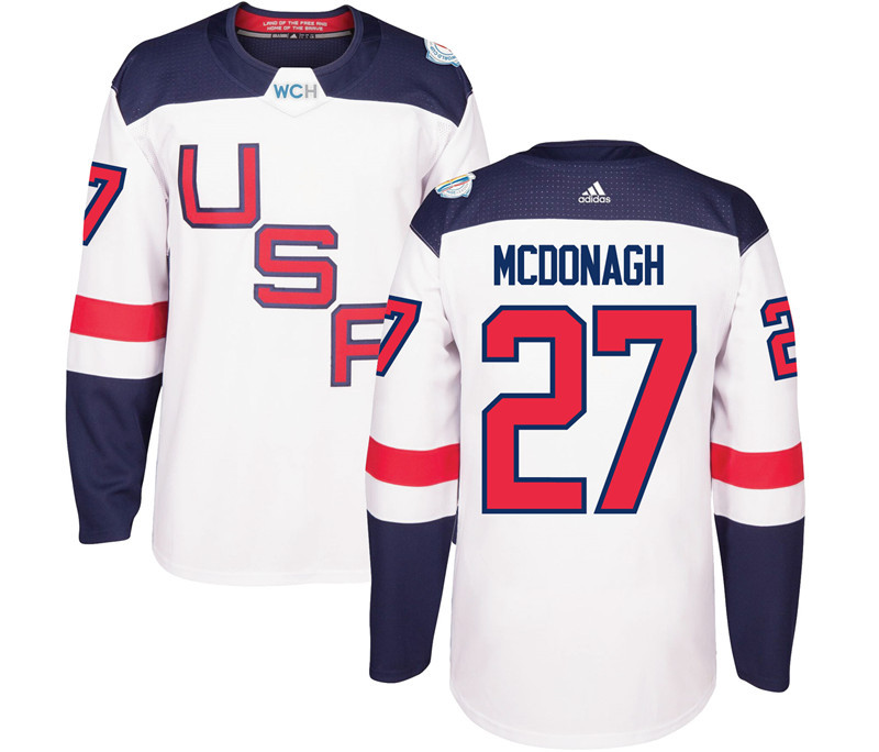 USA 27 Ryan McDonagh White 2016 World Cup Of Hockey Premier Player Jersey