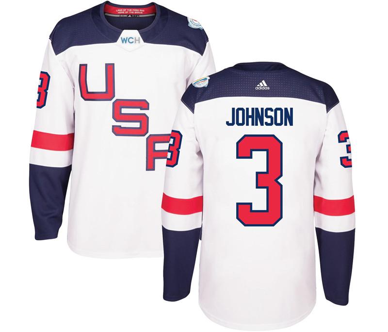 USA 3 Jack Johnson White 2016 World Cup Of Hockey Premier Player Jersey