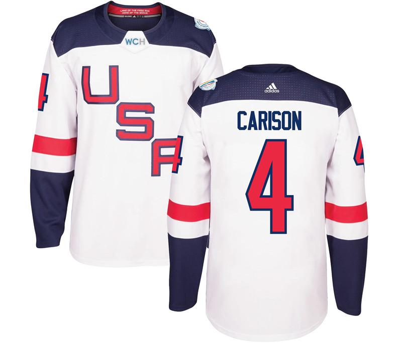USA 4 John Carlson White 2016 World Cup Of Hockey Premier Player Jersey