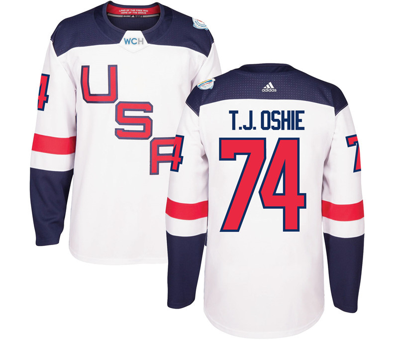 USA 74 T.J. Oshie White 2016 World Cup Of Hockey Premier Player Jersey