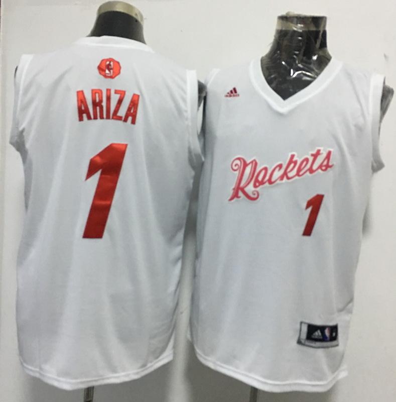 Rockets 1 Trevor Ariza White 2016 Christmas Day Swingman Jersey
