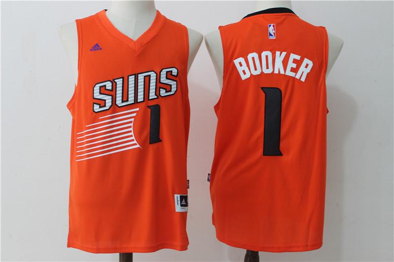Suns 1 Devin Booker Orange Swingman Jersey