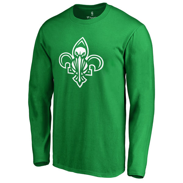 New Orleans Pelicans Fanatics Branded Kelly Green St. Patrick's Day White Logo Long Sleeve T-Shirt