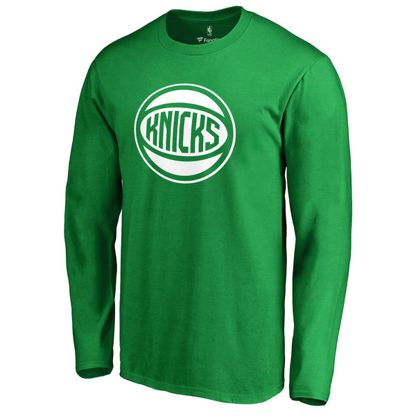 New York Knicks Fanatics Branded Kelly Green St. Patrick's Day White Logo Long Sleeve T-Shirt