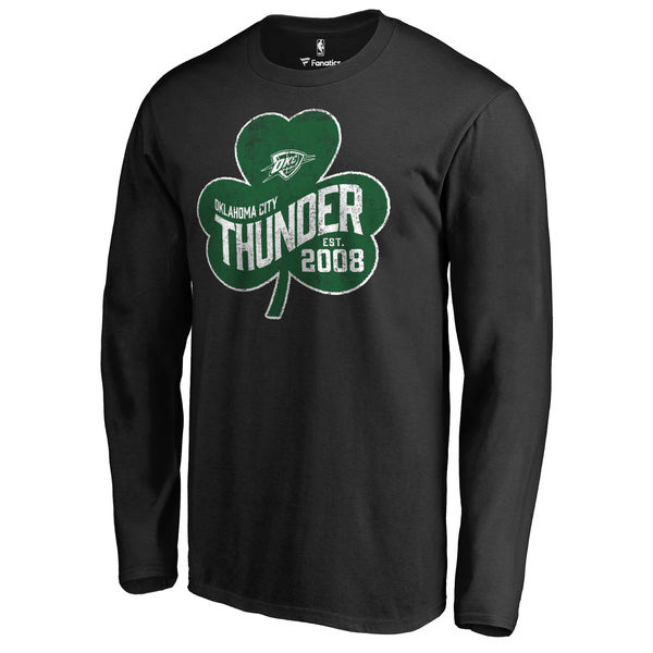 Oklahoma City Thunder Fanatics Branded Black Big & Tall St. Patrick's Day Paddy's Pride Long Sleeve T-Shirt