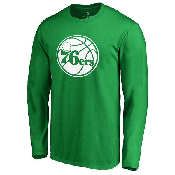 Philadelphia 76ers Fanatics Branded Kelly Green St. Patrick's Day White Logo Long Sleeve T-Shirt