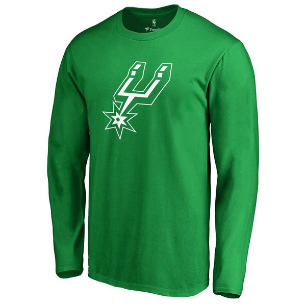 San Antonio Spurs Fanatics Branded Kelly Green St. Patrick's Day White Logo Long Sleeve T-Shirt