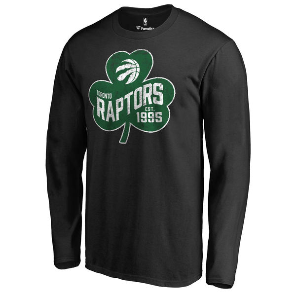 Toronto Raptors Fanatics Branded Black Big & Tall St. Patrick's Day Paddy's Pride Long Sleeve T-Shirt